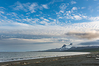 Landscape of the coast of Katmai National Park, Aleutian mountain range, Alaska Peninsula, southwest Alaska.