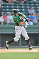 Right fielder Wuilmer Becerra (31) of the Savannah Sand Gnats bats in a game against the Greenville Drive on Thursday, September 3, 2015, at Fluor Field at the West End in Greenville, South Carolina. (Tom Priddy/Four Seam Images)