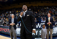 Earl Robinson, a member of Newell's teams from 1955-58 receives Pete Newell Career Achievement Award at halftime during the game against UCSB Gauchos at Haas Pavilion in Berkeley, California on December 19th, 2011.   California defeated UC Santa Barbara, 7-50.