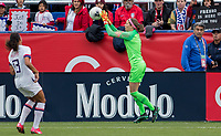 CARSON, CA - FEBRUARY 9: GK Stephanie Labbe #1 of Canada saves a ball during a game between Canada and USWNT at Dignity Health Sports Park on February 9, 2020 in Carson, California.
