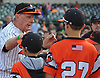 Long Island Ducks owner and coach Bud Harrelson greets children on the field before the team's season home opener at Bethpage Ballpark in Central Islip, NY on Friday, May 4, 2018.