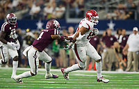 Hawgs Illustrated/Ben Goff<br /> Cheyenne O'Grady, Arkansas tight end, evades Derrick Tucker, Texas A&M defender, in the 4th quarter Saturday, Sept. 29, 2018, during the Southwest Classic at AT&T Stadium in Arlington, Texas.