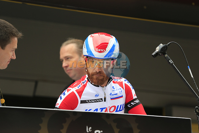 Luca Paolini (ITA) Katusha at sign on at York Racecourse before the start of Stage 2 of the 2014 Tour de France running 200km from York to Sheffield. 6th July 2014.<br /> Picture: Eoin Clarke www.newsfile.ie