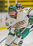 13 February 2015: University of Vermont Catamount Forward Mackenzie MacNeil, a Freshman from Richmond Hill, Ontario, in third period action against the University of New Hampshire Wildcats at Gutterson Fieldhouse in Burlington, Vermont. The Lady Catamounts fell to the visiting Wildcats 4-2 in the first game of their weekend Hockey East series. Mandatory Credit: Ed Wolfstein Photo *** RAW (NEF) Image File Available ***