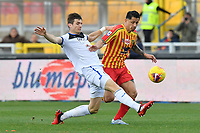 Marten de Roon of Atalanta challenges for the ball with Gianluca Lapadula of US Lecce <br /> Lecce 01-03-2020 Stadio Via del Mare <br /> Football Serie A 2019/2020 <br /> US Lecce - Atalanta BC<br /> Photo Carmelo Imbesi / Insidefoto
