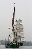 London, UK. 6 September 2014. Pictured: two-masted square-rigged sailing ship<br /> Mercedes on the River Thames. Tall Ships sailing on the River Thames on the second day of the Royal Greenwich Tall Ships Festival 2014.