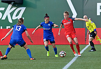 Portland, OR - Saturday May 06, 2017: Nahomi Kawasumi, Emily Sonnett during a regular season National Women's Soccer League (NWSL) match between the Portland Thorns FC and the Chicago Red Stars at Providence Park.