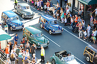 Pictured: Saturday 17 September 2016<br /> Re: Roald Dahl&rsquo;s City of the Unexpected has transformed Cardiff City Centre into a landmark celebration of Wales&rsquo; foremost storyteller, Roald Dahl, in the year which celebrates his centenary.<br /> Morris Minors are driven down Westgate Street.