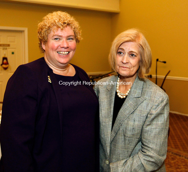 Waterbury, CT- 27, October 2010-102710CM12 SOCIAL MOMENTS EXCHANGE CLUB AWARDS: Cherie Dalton, Woodbury (L) and Rev. Elizabeth Schrader of Woodbury.  Christopher Massa Republican-American