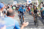 Nairo Quintana (COL) Movistar Team and Simon Yates (GBR) Mitchelton-Scott on the final climb during Stage 13 of the La Vuelta 2018, running 174.8km from Candas, Carreno to Valle de Sabero, La Camperona, Spain. 7th September 2018.<br /> Picture: Unipublic/Photogomezsport | Cyclefile<br /> <br /> <br /> All photos usage must carry mandatory copyright credit (&copy; Cyclefile | Unipublic/Photogomezsport)