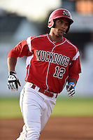 Batavia Muckdogs outfielder Kevin Grove (12) running the bases after hitting his first professional home run during a game against the Jamestown Jammers on July 25, 2014 at Dwyer Stadium in Batavia, New York.  Batavia defeated Jamestown 7-2.  (Mike Janes/Four Seam Images)