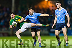 Paul Murphy Kerry in action against Michael Darragh Macauley and Brian Fenton Dublin in the National League in Austin Stack park on Saturday night.