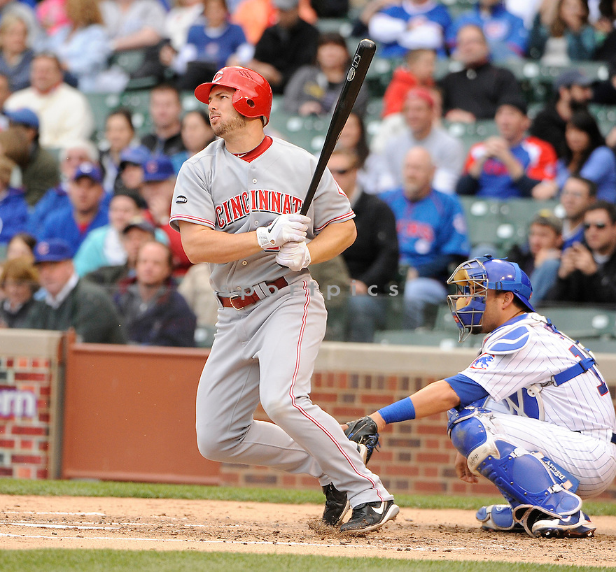 CHRIS HEISEY, of the Cincinnati Reds,  in action during the Reds game against the Chicago Cubs, on May 7, 2011 at Wrigley Field in Chicago, IL.  The Cubs beat the Reds 3-2.