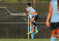 Piscataway, NJ - Saturday July 23, 2016: Leah Galton celebrates scoring, Tasha Kai during a regular season National Women's Soccer League (NWSL) match between Sky Blue FC and the Washington Spirit at Yurcak Field.