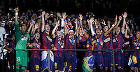 Calcio, finale di Champions League Juventus vs Barcellona all'Olympiastadion di Berlino, 6 giugno 2015.<br /> Barcelona's players celebrate at the end of the Champions League football final between Juventus Turin and FC Barcelona, at Berlin's Olympiastadion, 6 June 2015. Barcelona won 3-1.<br /> UPDATE IMAGES PRESS/Isabella Bonotto