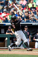Texas Tech Red Raiders shortstop Josh Jung (16) swings the bat during Game 1 of the NCAA College World Series against the Michigan Wolverines on June 15, 2019 at TD Ameritrade Park in Omaha, Nebraska. Michigan defeated Texas Tech 5-3. (Andrew Woolley/Four Seam Images)