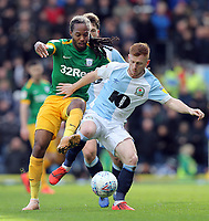 Blackburn Rovers' Harrison Reed under pressure from Preston North End's Daniel Johnson<br /> <br /> Photographer Rich Linley/CameraSport<br /> <br /> The EFL Sky Bet Championship - Blackburn Rovers v Preston North End - Saturday 9th March 2019 - Ewood Park - Blackburn<br /> <br /> World Copyright © 2019 CameraSport. All rights reserved. 43 Linden Ave. Countesthorpe. Leicester. England. LE8 5PG - Tel: +44 (0) 116 277 4147 - admin@camerasport.com - www.camerasport.com