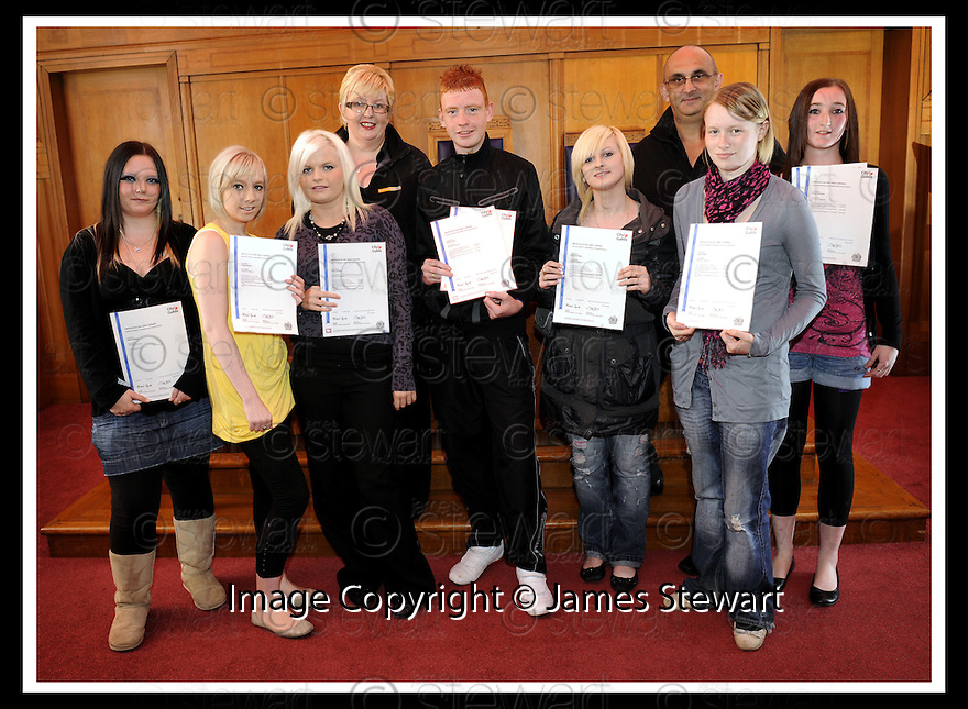 24/09/2009  Copyright  Pic : James Stewart.11_awards_240909  .:: FALKIRK COUNCIL :: EMPLOYMENT & TRAINING UNIT :: CERTIFICATE PRESENTATIONS :: DIANNE EASTON,TRACEY BRYANS, KIRTSY MANSON, DAVID YOUNG, GEMMA DRAPER, LISA MCNEIL AND EMMA GALBRAITH WITH  LIZ AND DAVID HOSKIN FROM POSITIVE QUALITIES ::  .James Stewart Photography 19 Carronlea Drive, Falkirk. FK2 8DN      Vat Reg No. 607 6932 25.Telephone      : +44 (0)1324 570291 .Mobile              : +44 (0)7721 416997.E-mail  :  jim@jspa.co.uk.If you require further information then contact Jim Stewart on any of the numbers above.........