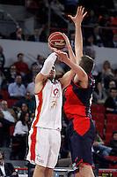 Caja Laboral Baskonia's Nemanja Bjelica (r) and CAI Zaragoza's Pablo Aguilar during Spanish Basketball King's Cup match.February 07,2013. (ALTERPHOTOS/Acero)