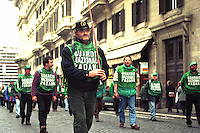 April 1999, Rome Italy. Umberto Bossi, former minister in Berlusconi's cabinet, and founder of the right-wing, xenophobic Italian party Lega Nord, just resigned from his office as party secretary. This happens as consequence of a series of scandals linked to Bossi and other major figures of Lega Nord..Demonstration in Rome of Lega Nord supporters.