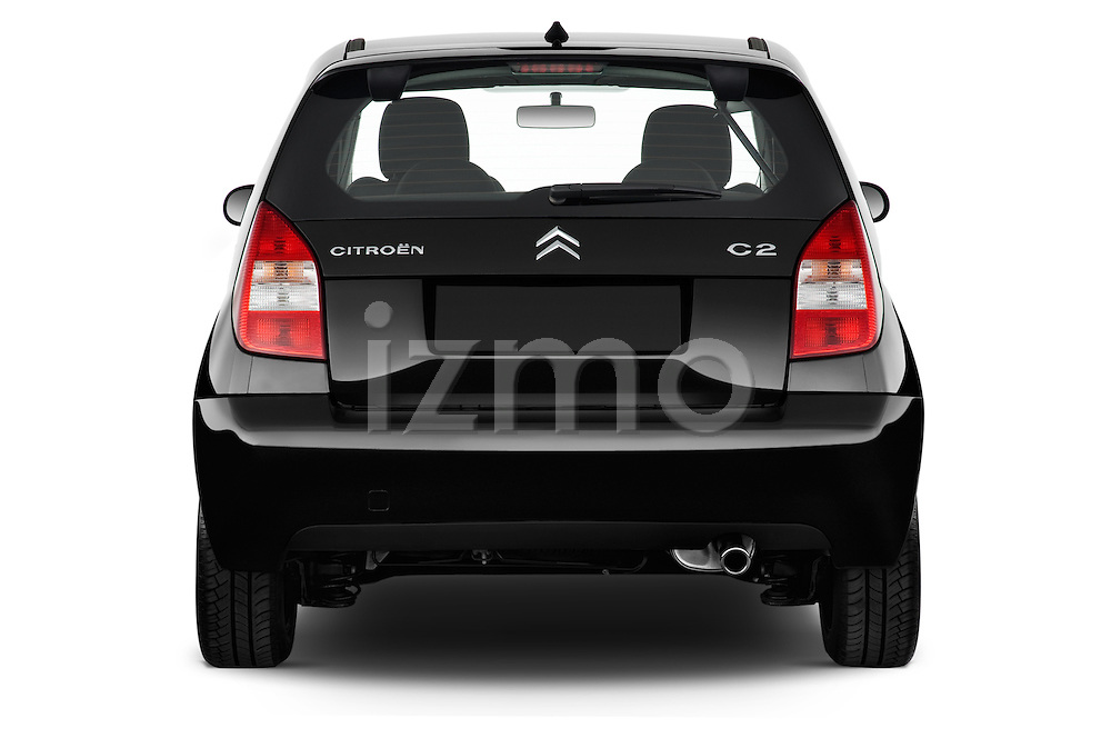 Straight rear view of a 2008 - 2009 Citroen C2 VTR 3 Door Hatchback 2WD