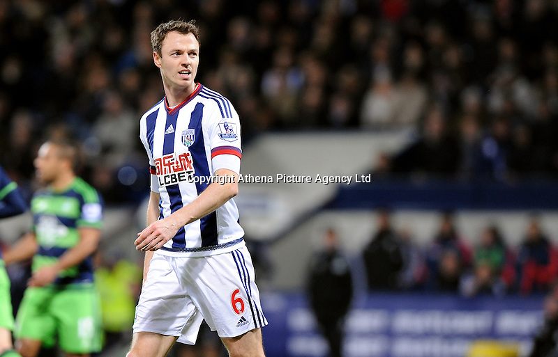 Jonny Evans of West Bromwich Albion during the Barclays Premier League match between West Bromwich Albion and Swansea City at The Hawthorns on the 2nd of February 2016
