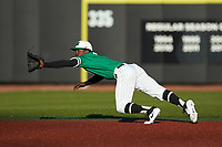 Marshall Thundering Herd shortstop Elvis Peralta Jr. (7) dives for a line drive during the game against the Charlotte 49ers at Hayes Stadium on March 22, 2019 in Charlotte, North Carolina. The Thundering Herd defeated the 49ers 12-6. (Brian Westerholt/Four Seam Images)