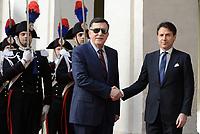 Roma, 7 Maggio 2019<br /> Giuseppe Conte, Fayez al Sarraj<br /> Il Presidente Conte ha incontrato, a Palazzo Chigi, il Presidente del Consiglio Presidenziale del Governo di Accordo Nazionale della Libia, Fayez al Serraj.