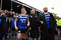 Freddie Burns, Max Clark and Tom Dunn of Bath Rugby look on from the sidelines. Gallagher Premiership match, between Bath Rugby and Wasps on May 5, 2019 at the Recreation Ground in Bath, England. Photo by: Patrick Khachfe / Onside Images