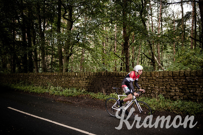 The unfortunate Nazir Jaser from Syria continuing on his roadbike after crashing earlier<br /> Elite Men Individual Time Trial<br /> from Northhallerton to Harrogate (54km)<br /> <br /> 2019 Road World Championships Yorkshire (GBR)<br /> <br /> ©kramon