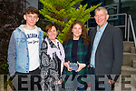 Nessa McGarty with her family after she was presented with the Junior Cert Achievement Award at Mercy Mount Hawk Secondary School on Saturday, Pat,Rosemarie and Darragh McGarty
