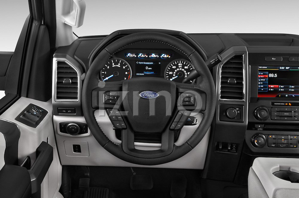 Car pictures of steering wheel view of a 2015 Ford F 150 Xlt 4X2 Ecoboost 5 Door Trucks