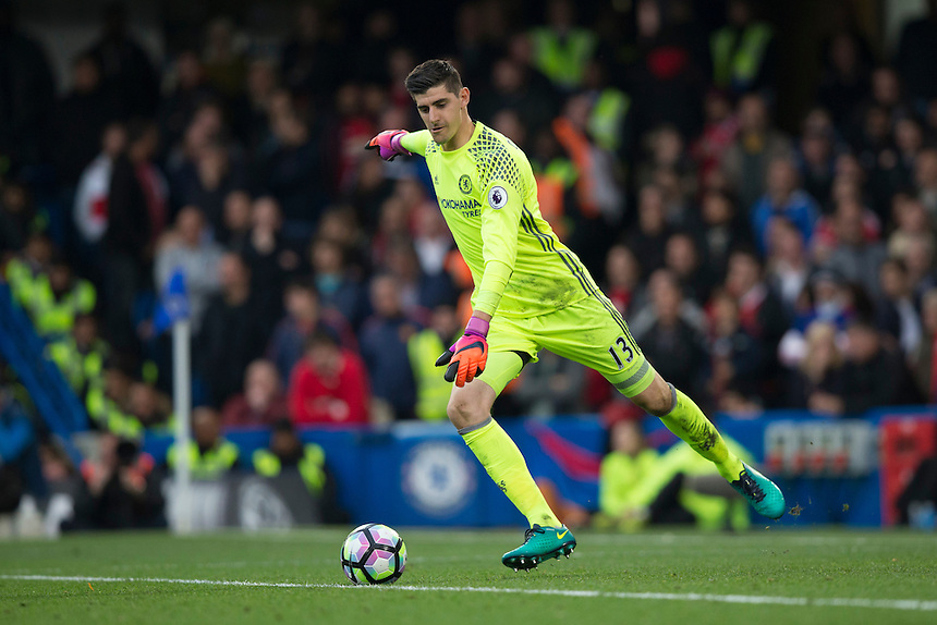 Chelsea's Thibaut Courtois in action<br /> <br /> Photographer Craig Mercer/CameraSport<br /> <br /> The Premier League - Chelsea v Manchester United - Sunday 23rd October 2016 - Stamford Bridge - London<br /> <br /> World Copyright &copy; 2016 CameraSport. All rights reserved. 43 Linden Ave. Countesthorpe. Leicester. England. LE8 5PG - Tel: +44 (0) 116 277 4147 - admin@camerasport.com - www.camerasport.com