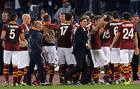 Calcio, Serie A: Roma vs ChievoVerona. Roma, stadio Olimpico, 31 ottobre 2013.<br /> AS Roma forward Marco Borriello, third from left, partially seen, celebrates with teammates and AS Roma coach Rudi Garcia, of France, center, after scoring during the Italian Serie A football match between AS Roma and ChievoVerona at Rome's Olympic stadium, 31 October 2013.<br /> UPDATE IMAGES PRESS/Riccardo De Luca