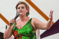 Comedian Kiri Pritchard-McLean performs on day 2 of the 2019 Latitude Festival at Henham Park, Suffolk. 20th July 2019<br /> <br /> Photo by Stuart Hogben