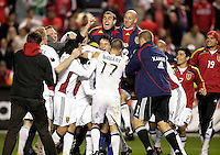The Real Salt Lake players celebrate after their penalty kick win.  Real Salt Lake defeated the Chicago Fire in a penalty kick shootout 0-0 (5-4 PK) in the Eastern Conference Final at Toyota Park in Bridgeview, IL on November 14, 2009.
