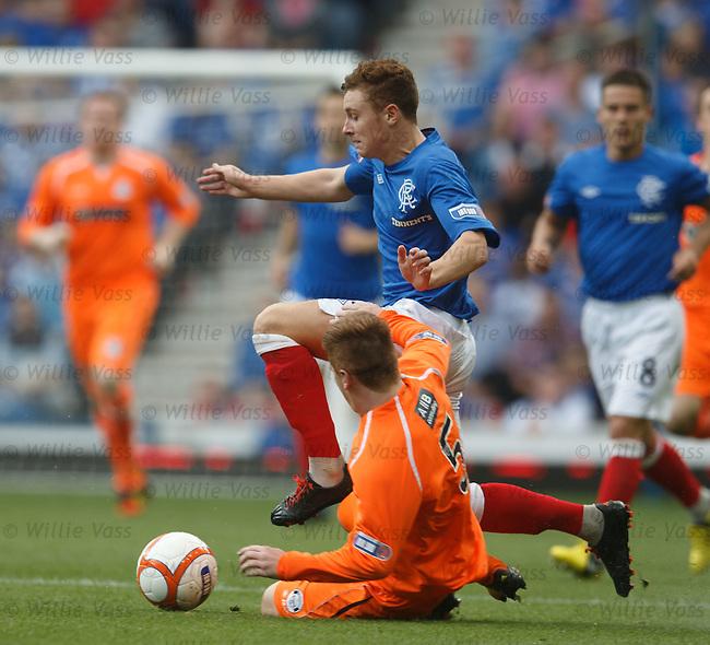 Lewis Macleod skips past Rhys Devlin.