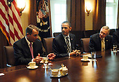 United States President Barack Obama and Vice President Joseph Biden meet with Senate and House bipartisan members to discuss fiscal policy in the Cabinet Room of the White House in Washington, DC on Wednesday, 13 April 2011. Left to right is U.S. House Speaker John Boehner (Republican of Ohio), President Obama, U.S. Senate Majority Leader Harry Reid (Democrat of Nevada) as they listen to U.S. Vice President Joe Biden (not shown)..Credit: Bill Auth / Pool via CNP