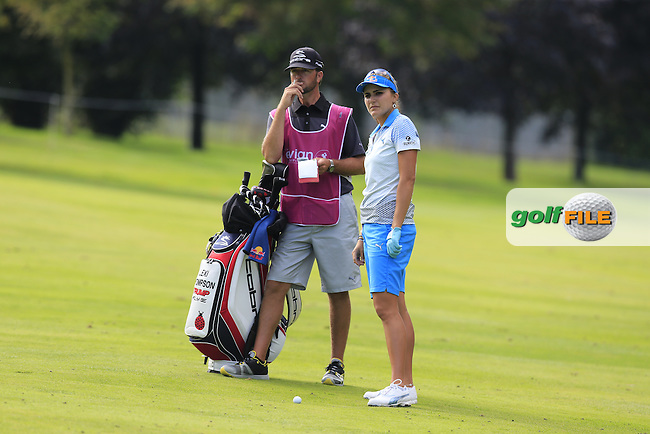 Lexi Thompson (USA) prepares to play her 2nd shot on the 12th hole during Sunday's Final Round of the LPGA 2015 Evian Championship, held at the Evian Resort Golf Club, Evian les Bains, France. 13th September 2015.<br /> Picture Eoin Clarke | Golffile