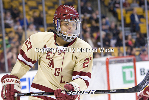Quinn Smith (BC - 27) - The Boston College Eagles defeated the University of Maine Black Bears 4-1 to win the 2012 Hockey East championship on Saturday, March 17, 2012, at TD Garden in Boston, Massachusetts.