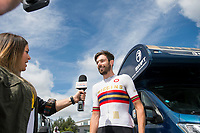 Picture by Allan McKenzie/SWpix.com - 16/07/17 - Cycling - HSBC UK British Cycling Grand Prix Series - Velo29 Altura Stockton Grand Prix - Stockton, England - Team Wiggins's Andrew tennant is interviewed.