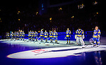 Stockholm 2014-05-03 Ishockey Oddset Hockey Games  Sverige - Finland :  <br /> Sverige lineup i nedsl&auml;ckt arena innan matchen<br /> (Foto: Kenta J&ouml;nsson) Nyckelord:  Oddset Hockey Games Sverige Swe Tre Kronor Finland Fin Globen Ericsson Globe Arena