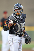 Rochester Red Wings catcher Jose Morales in the field during a game vs. the Syracuse Chiefs at Frontier Field in Rochester, NY May 19, 2010.   Syracuse defeated Rochester by the score of .  Photo By Mike Janes/Four Seam Images
