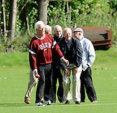 East of Scotland Cricket League, Div 3 - Clackmannan County CC v Livingston CC - Livingston veteran groundsman and President David Henderson (left), with former Cricket Scotland official Alex Ritchie (centre) and other stalwart members practice fielding on the boundary - Picture by Donald MacLeod 17.07.10 - mobile 07702 319 738 - clanmacleod@btinternet.com