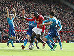 Romelu Lukaku of Manchester United is crowded out by three Arsenal players during the premier league match at the Old Trafford Stadium, Manchester. Picture date 29th April 2018. Picture credit should read: Simon Bellis/Sportimage