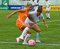 Sky Blue FC  midfielder/forward Kacey White (20) and St Louis Athletica defender Kendall Fletcher (24) battle for the ball during a WPS match at Anheuser-Busch Soccer Park, in St. Louis, MO, June 7, 2009. Athletica won the match 1-0.