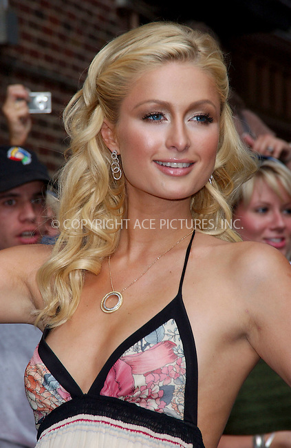 WWW.ACEPIXS.COM . . . . . ....NEW YORK, JUNE 12, 2006....Paris Hilton makes a guest appearance at the Late Show with David Letterman.....Please byline: KRISTIN CALLAHAN - ACEPIXS.COM.. . . . . . ..Ace Pictures, Inc:  ..(212) 243-8787 or (646) 679 0430..e-mail: picturedesk@acepixs.com..web: http://www.acepixs.com