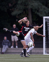 NC State midfielder Kristina Argiroff (15) attempts to control a high pass. Boston College defeated North Carolina State,1-0, on Newton Campus Field, on October 23, 2011.