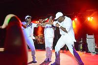 POMPANO BEACH, FL - DECEMBER 02: Wanya Morris, Shawn Stockman, and Nathan Morris of Boyz II Men perform onstage at Pompano Beach Amphitheatre on December 2, 2016 in Pompano Beach, Florida. Credit: MPI10 / MediaPunch