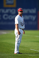 Auburn Doubledays manager Jerad Head (11) during a game against the Williamsport Crosscutters on June 26, 2016 at Falcon Park in Auburn, New York.  Auburn defeated Williamsport 3-1.  (Mike Janes/Four Seam Images)